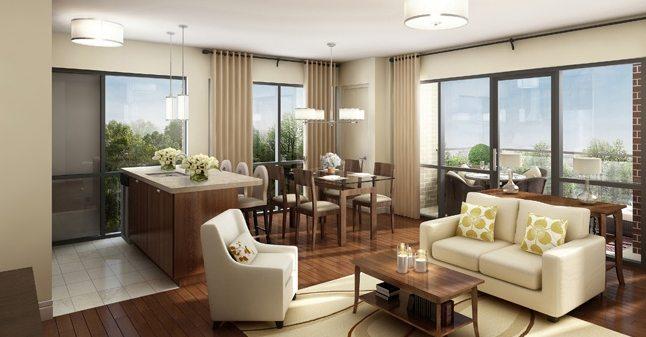Rendering of Vero Condos suite living room