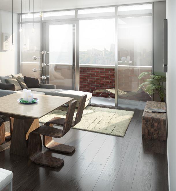 Arch Lofts Condos Living Area Toronto, Canada