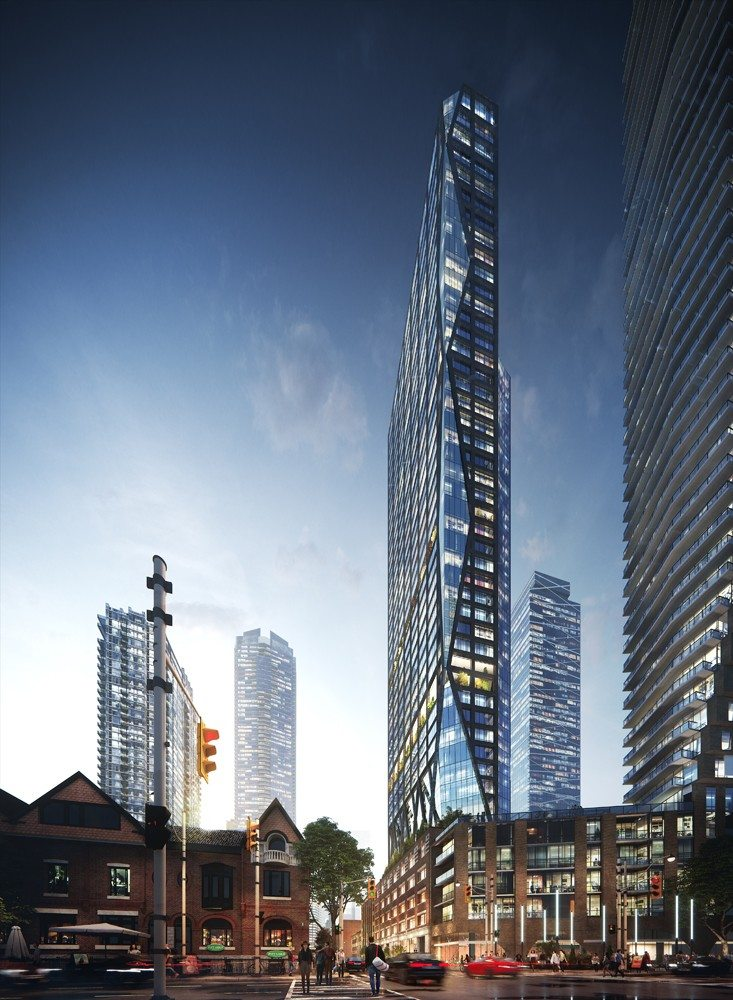 Rendering of 263 Adelaide Condos building exterior and surrounding area.