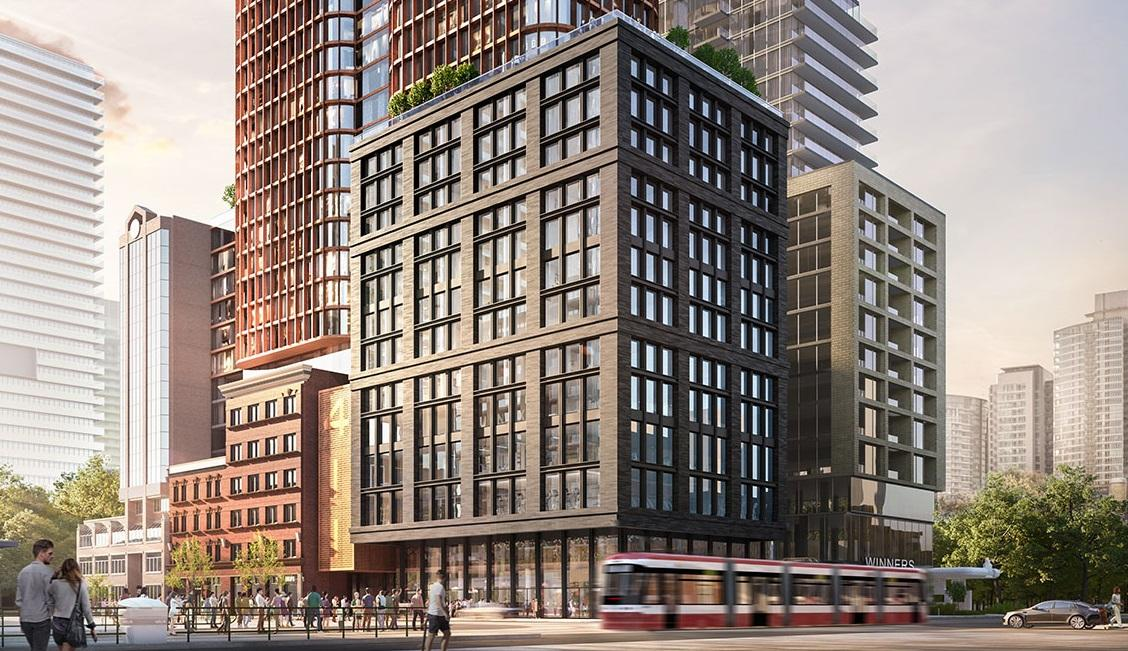 Rendering of 411 King Condos building street-level exterior.