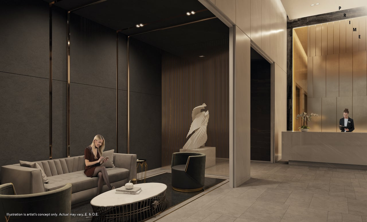 Rendering of Prime Condos lobby furnished with Versace