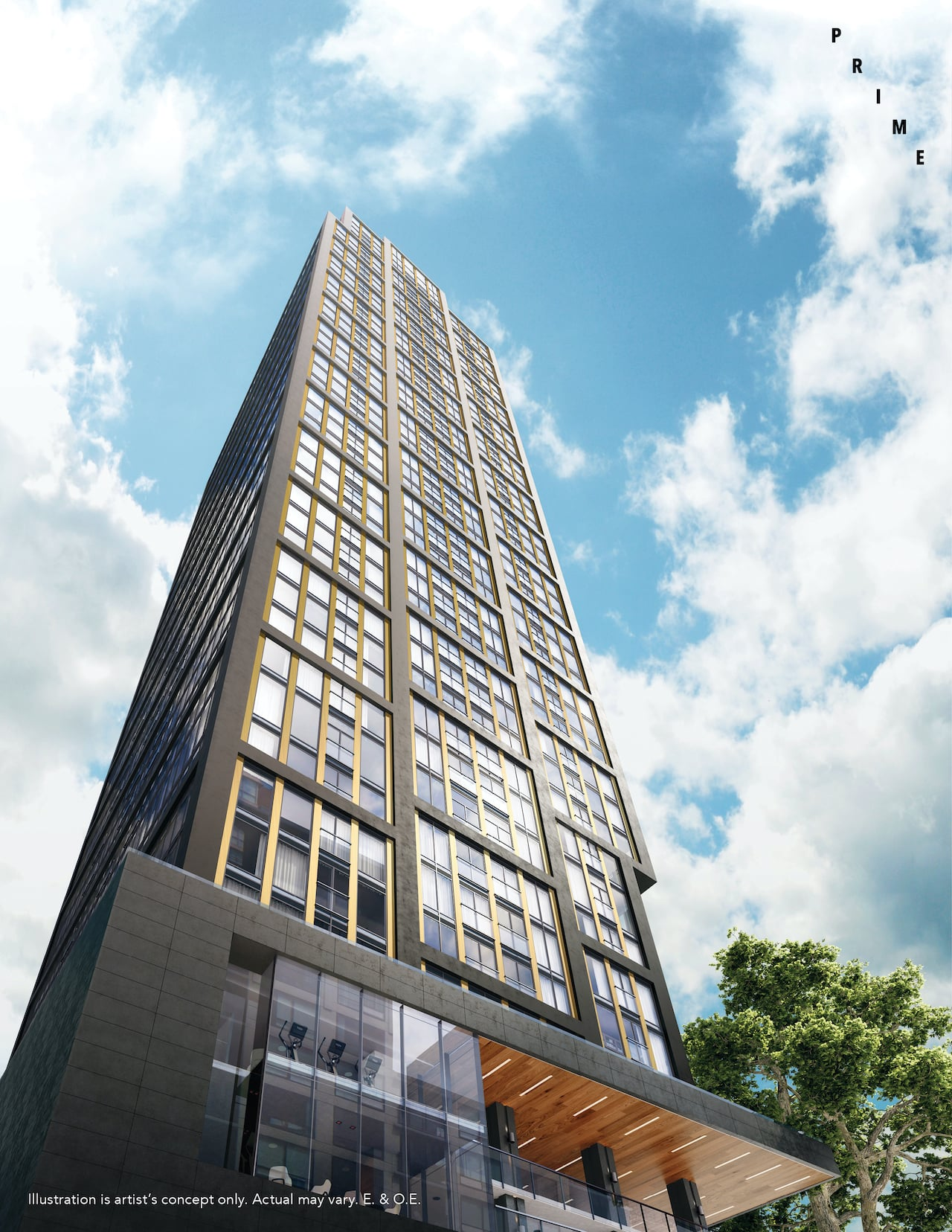 Rendering of Prime Condos worms eye view