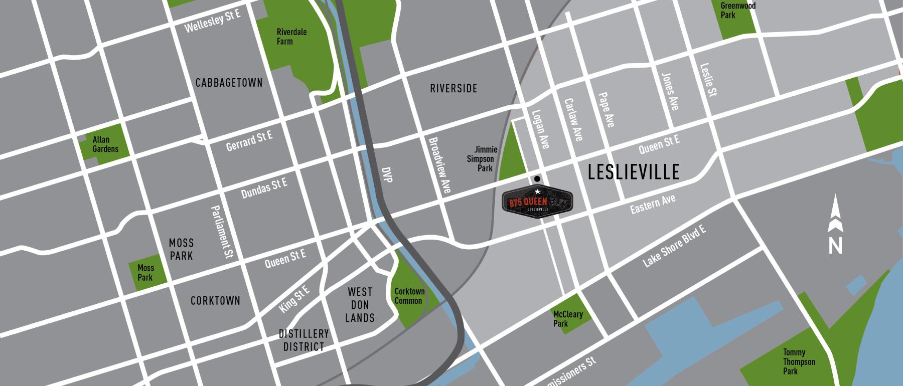 875 Queen East Condos Map View Toronto, Canada