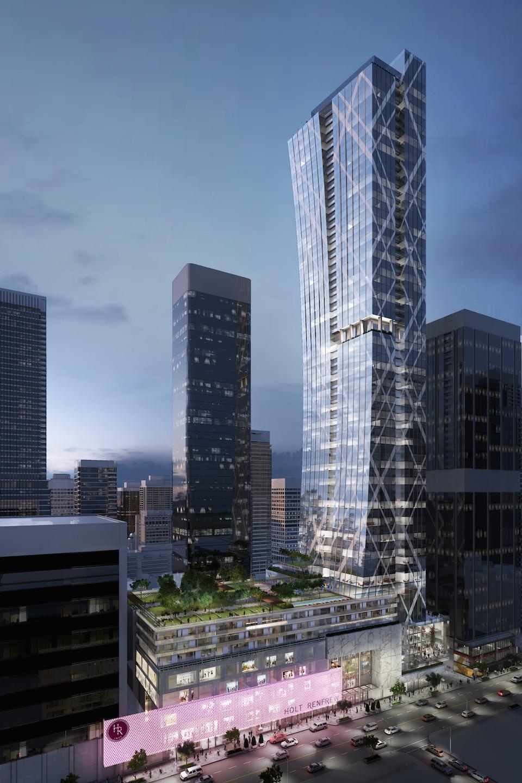 Full exterior rendering of Holt Renfrew Tower 50 Bloor Street West Condos in Toronto