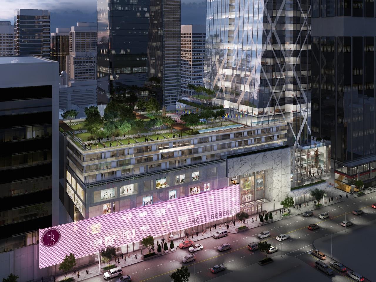 Podium rendering of Holt Renfrew Tower 50 Bloor Street West Condos in Toronto