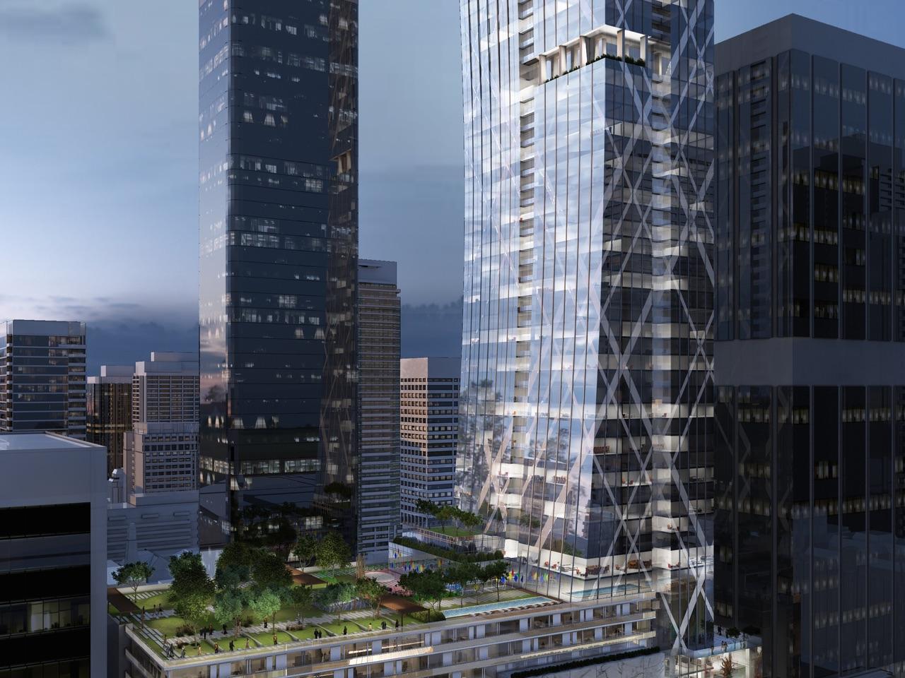 Partial exterior rendering of Holt Renfrew Tower 50 Bloor Street West Condos in Toronto
