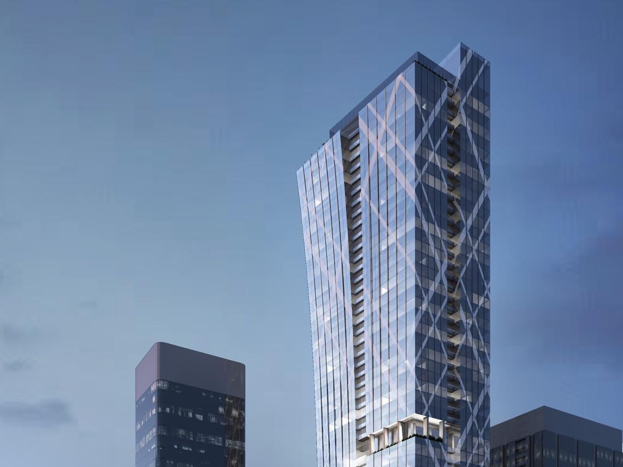 Top-view exterior rendering of Holt Renfrew Tower 50 Bloor Street West Condos in Toronto