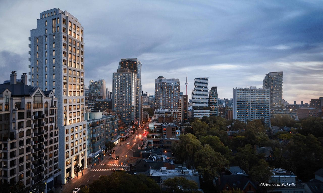 Rendering of 89 Avenue Condos and surrounding area at dusk.