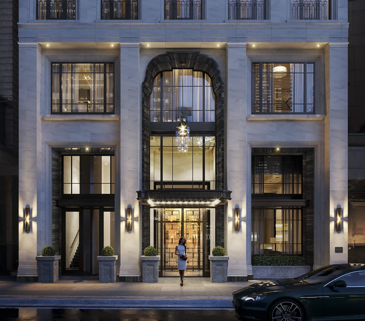 Rendering of 89 Avenue Condos exterior at night.