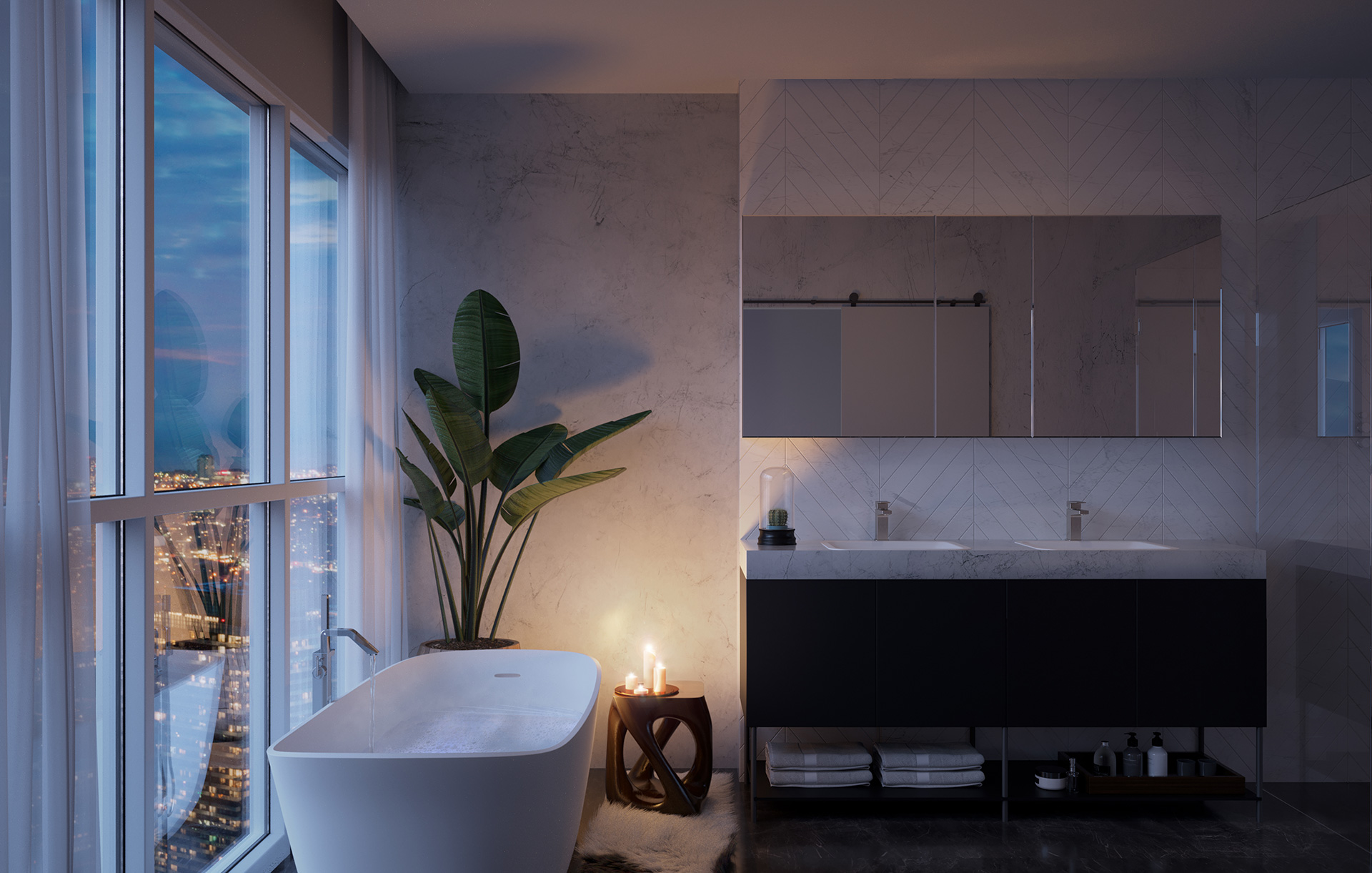 Rendering of 8 Cumberland Condos suite interior bathroom.