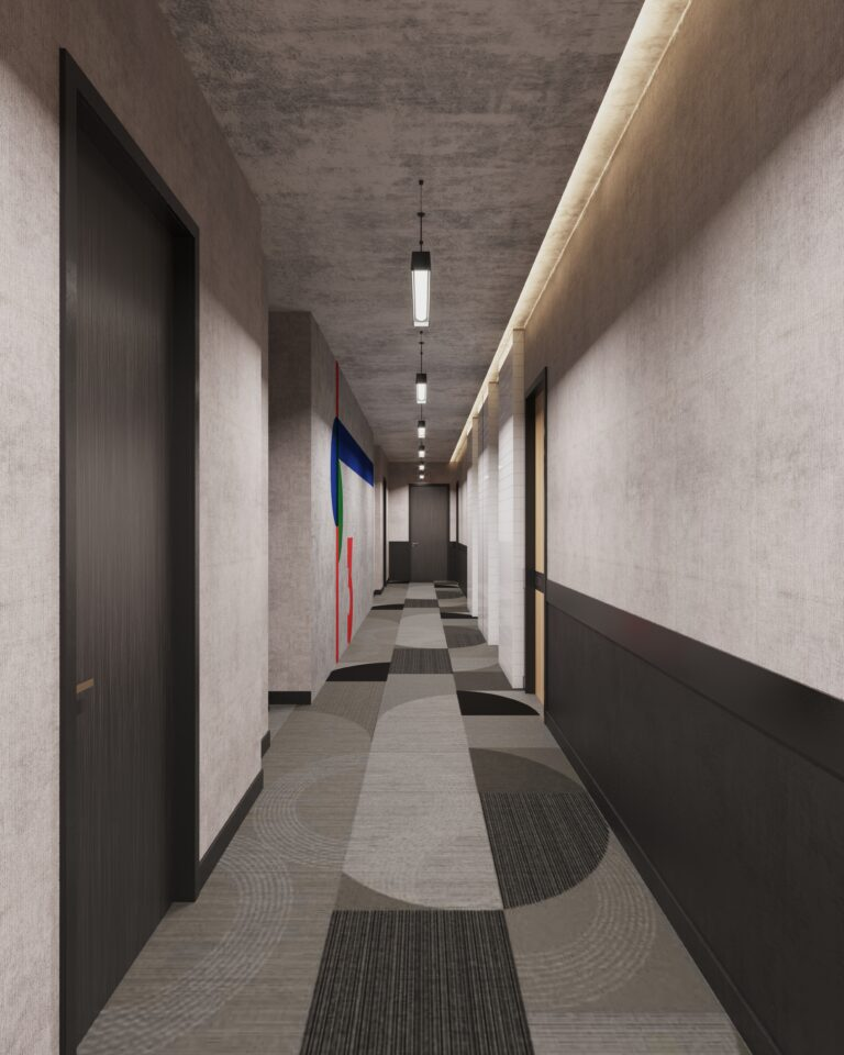 Rendering of Bauhaus hallway