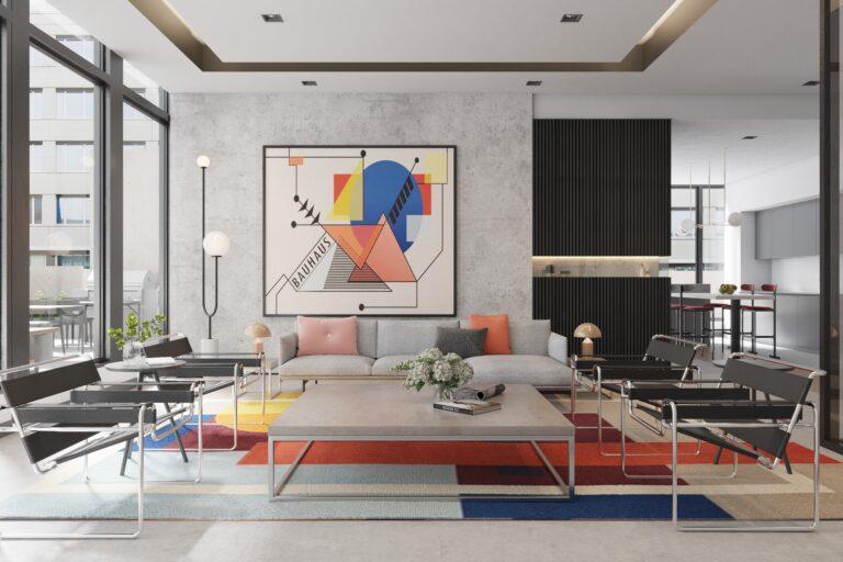 Rendering of Bauhaus party room
