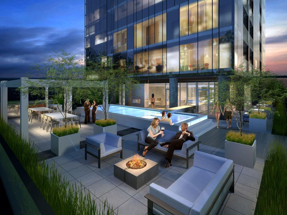 Rendering of Nautique Lakefront Residences terrace with pool and fire pit