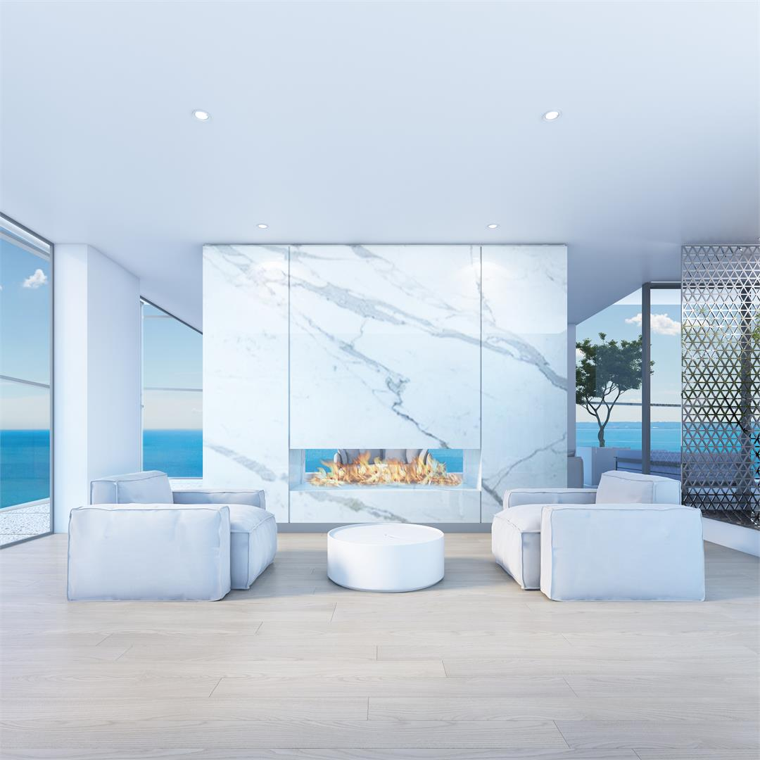 Rendering of Nautique Lakefront Residences lounge with fireplace