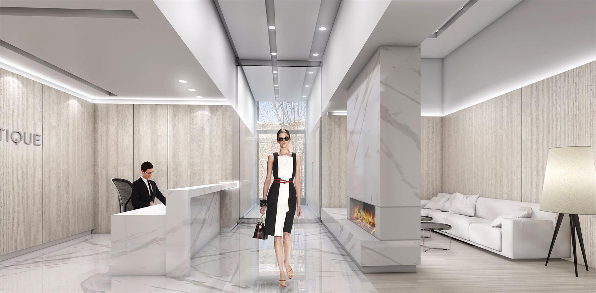 Rendering of Nautique Lakefront Residences lobby with concierge