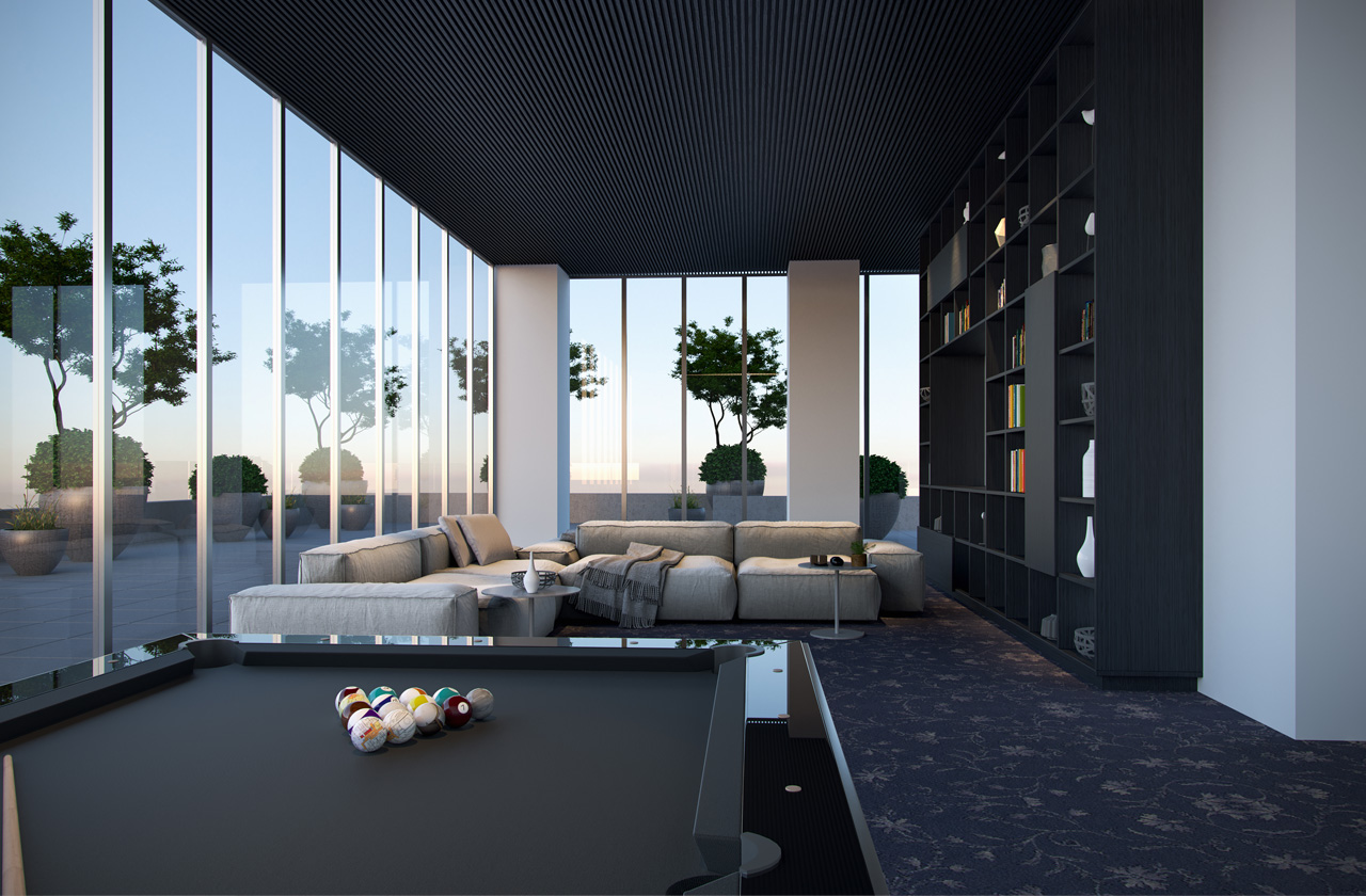 Rendering of Plaza Midtown Condos billiards room.