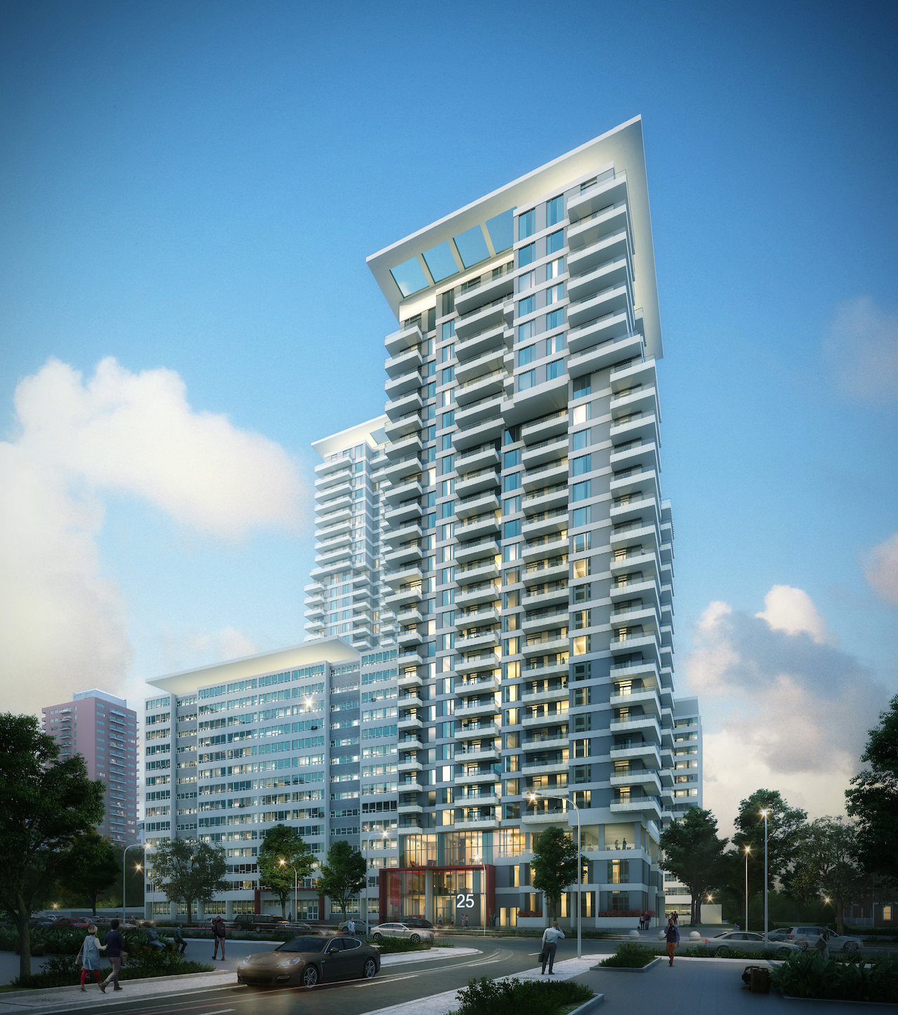 Rendering of Plaza Midtown Condos exterior at dusk.