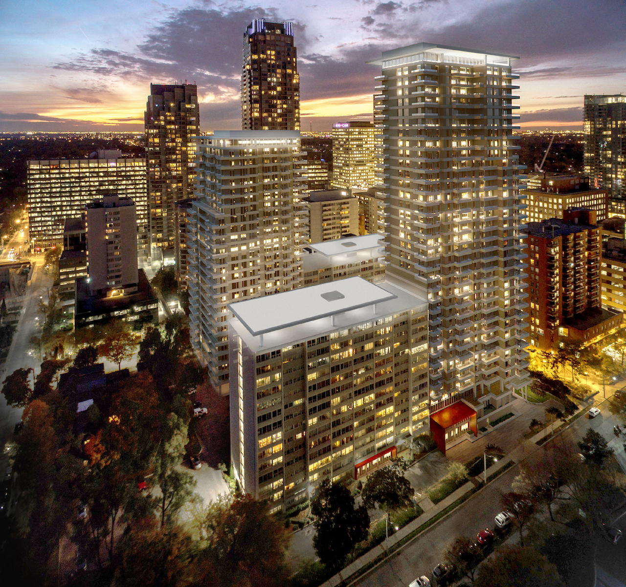 Rendering of Plaza Midtown Condos exterior at night.