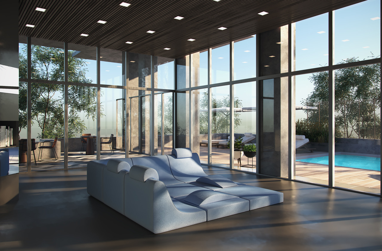 Rendering of Plaza Midtown Condos indoor lounge area by the outdoor pool.