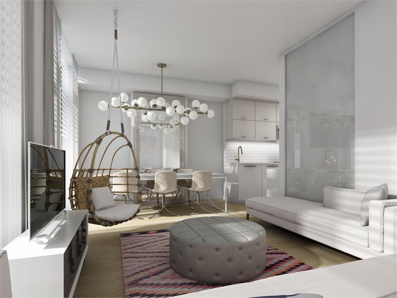 TEN 93 Condos Living Area Toronto, Canada