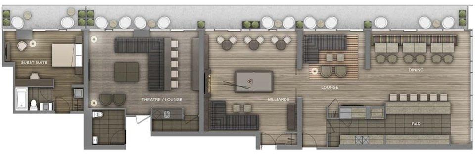 Peter Street Condominiums Amenities Plan Toronto, Canada