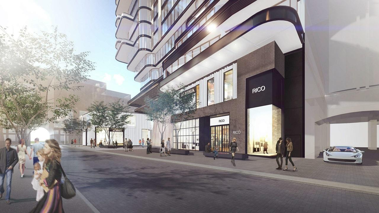 Rendering of 33 Avenue Road Condos street view and retail.