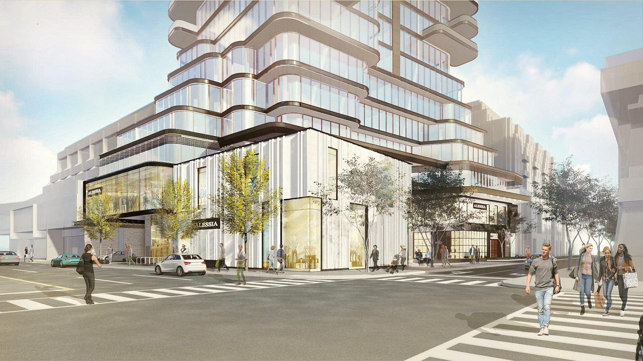 Rendering of 33 Avenue Road Condos street view at major intersection.