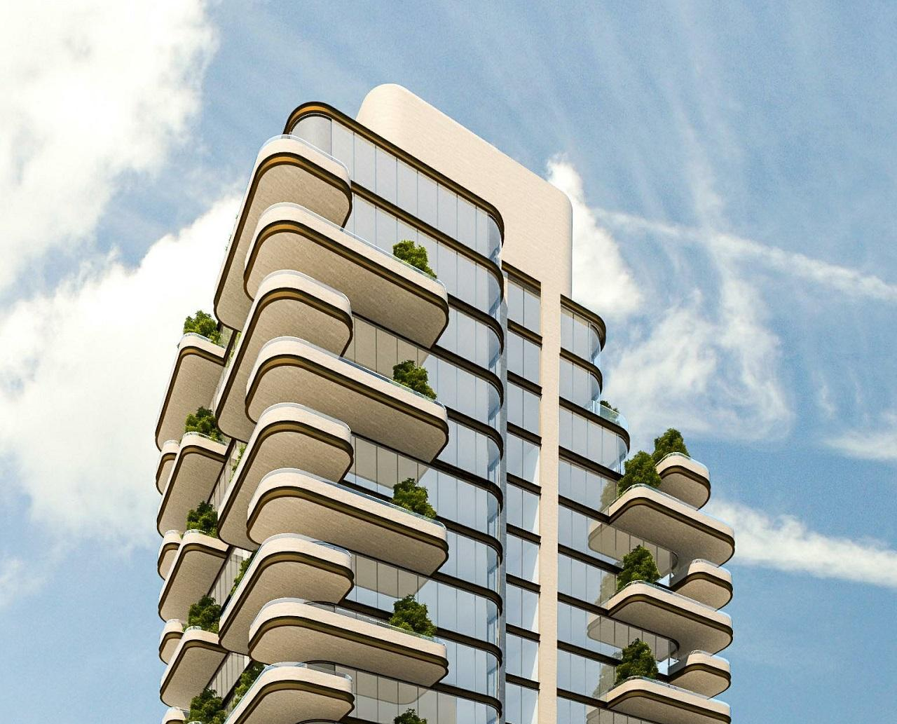 Rendering of 33 Avenue Road Condos top half during the day.