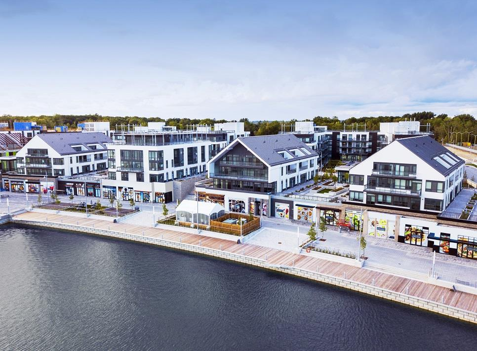 Friday Harbour Resort Condos and Towns boardwalk aerial