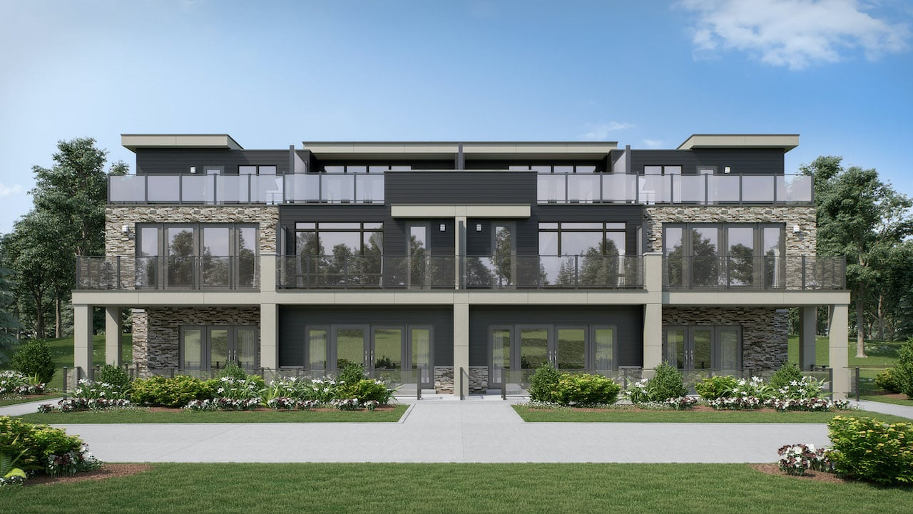 Rendering of summerside towns at oak bay exterior view