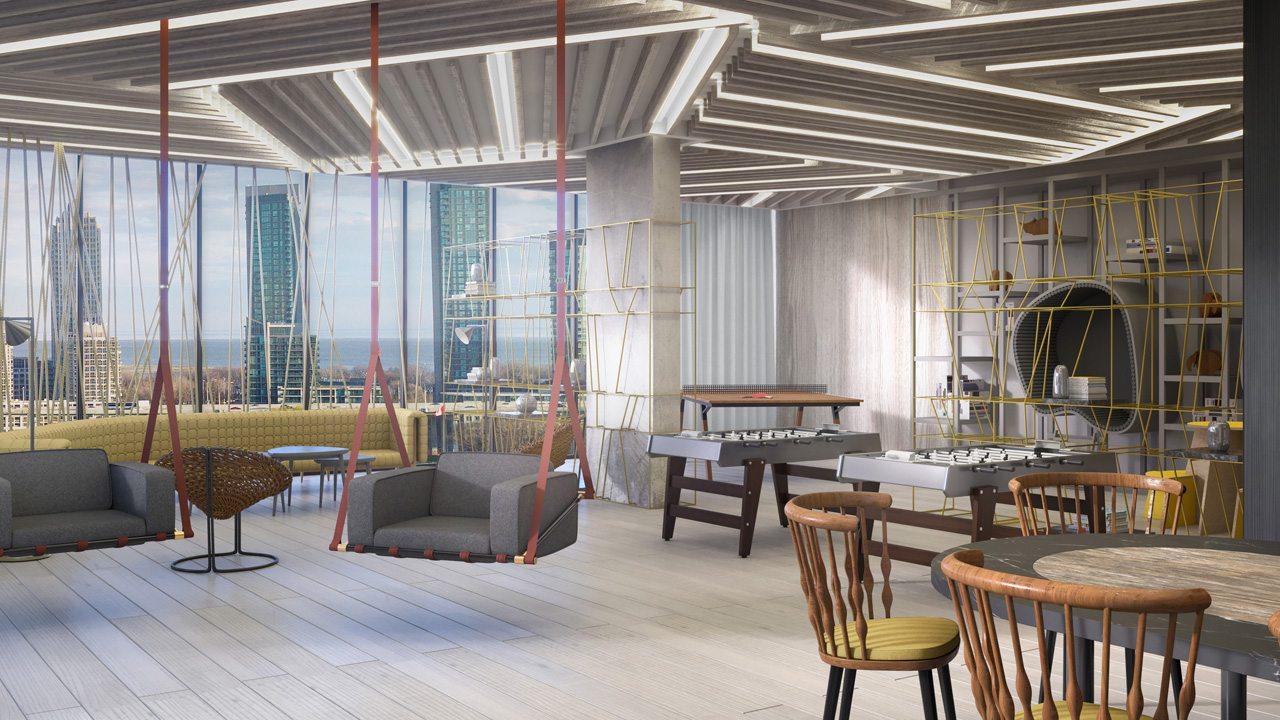 West Condos rendering of building entertainment room