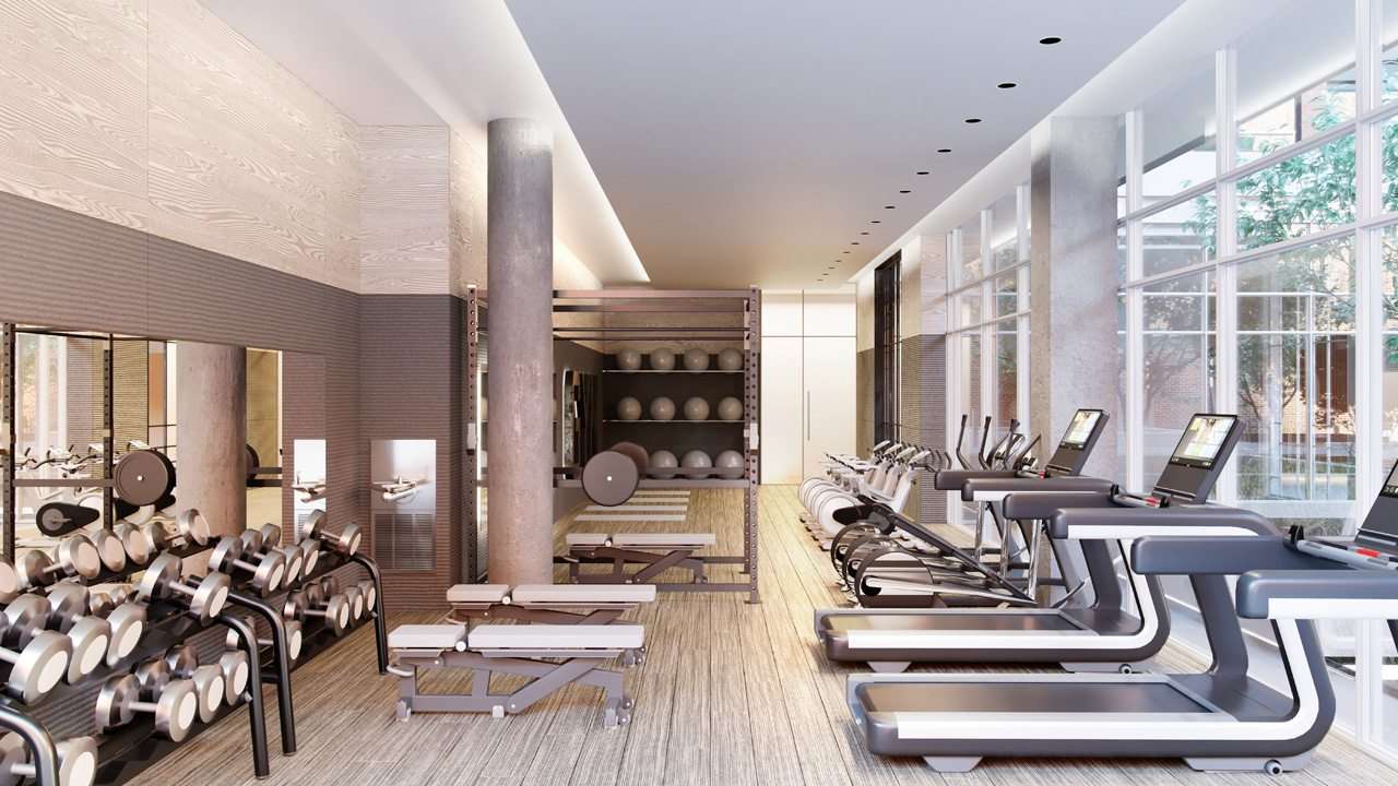 West Condos rendering of indoor gym area and equipment