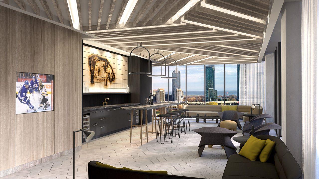 West Condos rendering of the sixth-floor bar