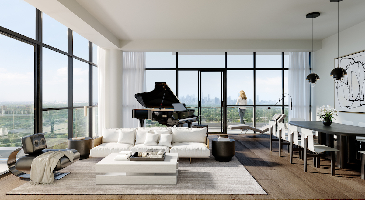 Rendering of Upper East Village the The Leaside Collection suite living room.