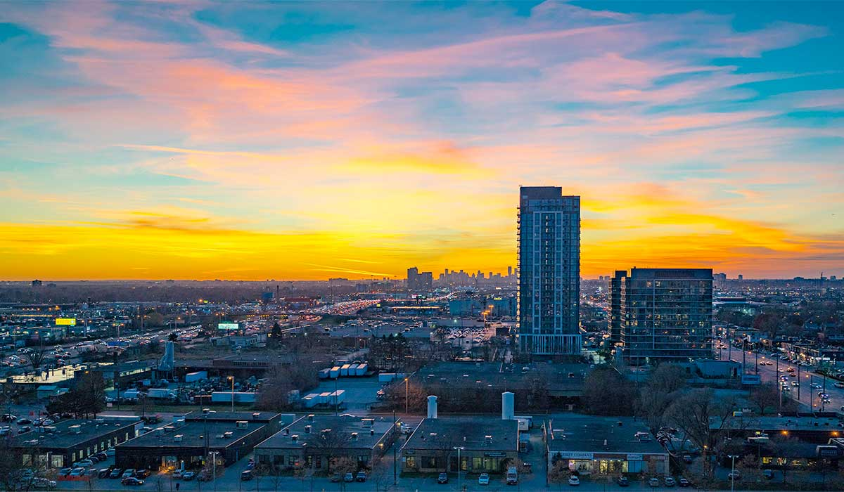 Aerial view of IQ Condos Toronto