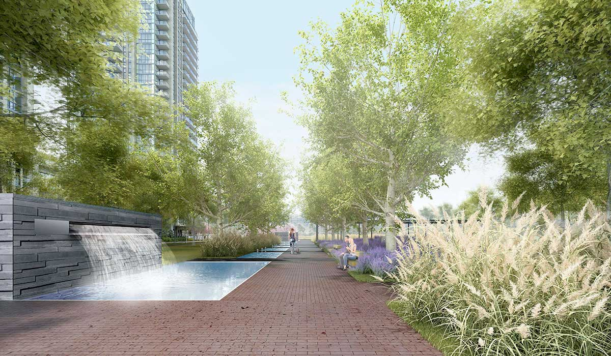 Rendering of courtyard with water display at IQ Condos Toronto.