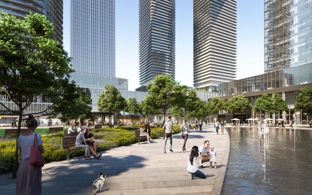 Rendering of Sugar Wharf Condos Courtyard with water feature.