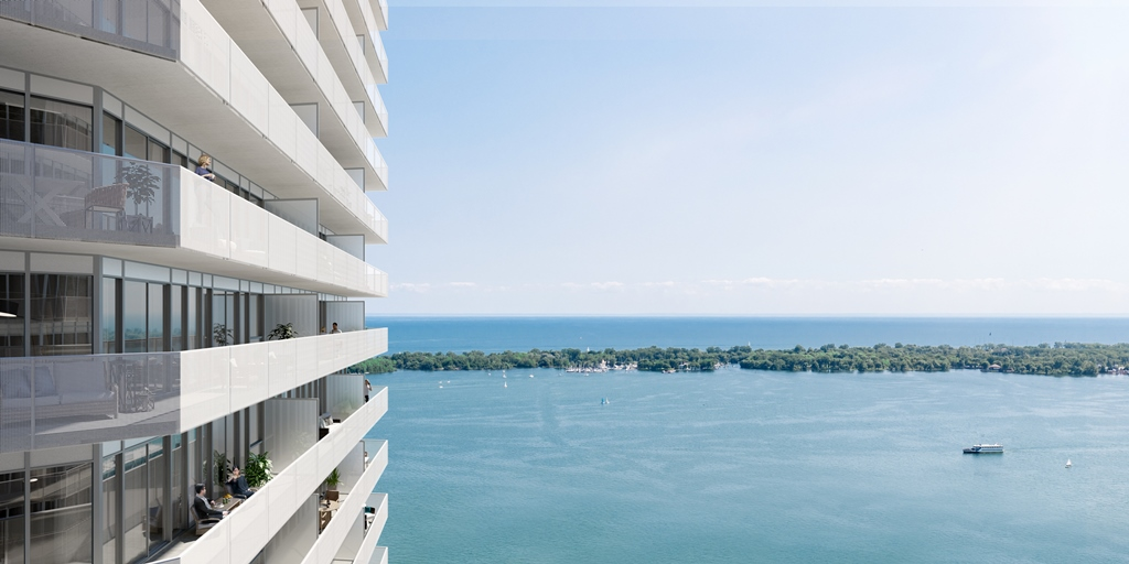 Rendering of Sugar Wharf Condos suite views of the lake.