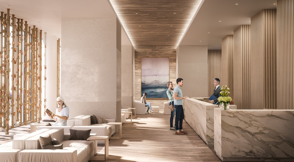 Rendering of Sugar Wharf Condos lobby with concierge.