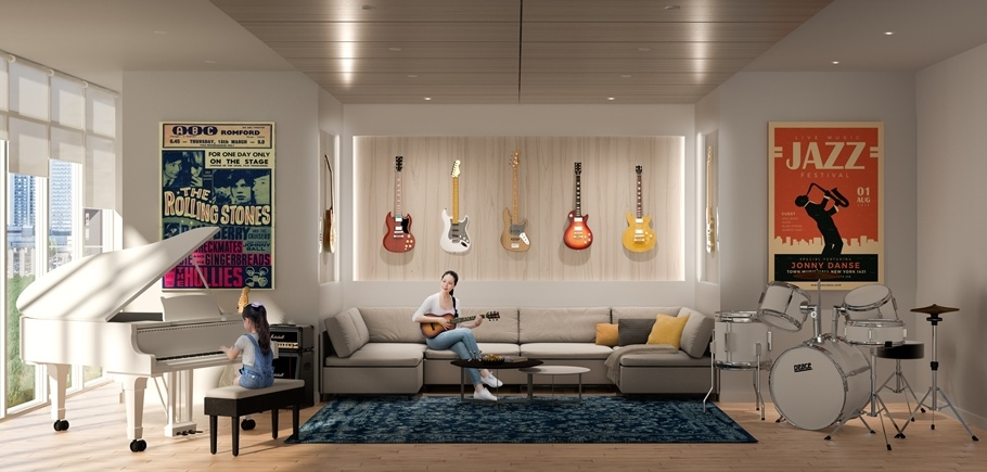 Rendering of Sugar Wharf Condos music room.