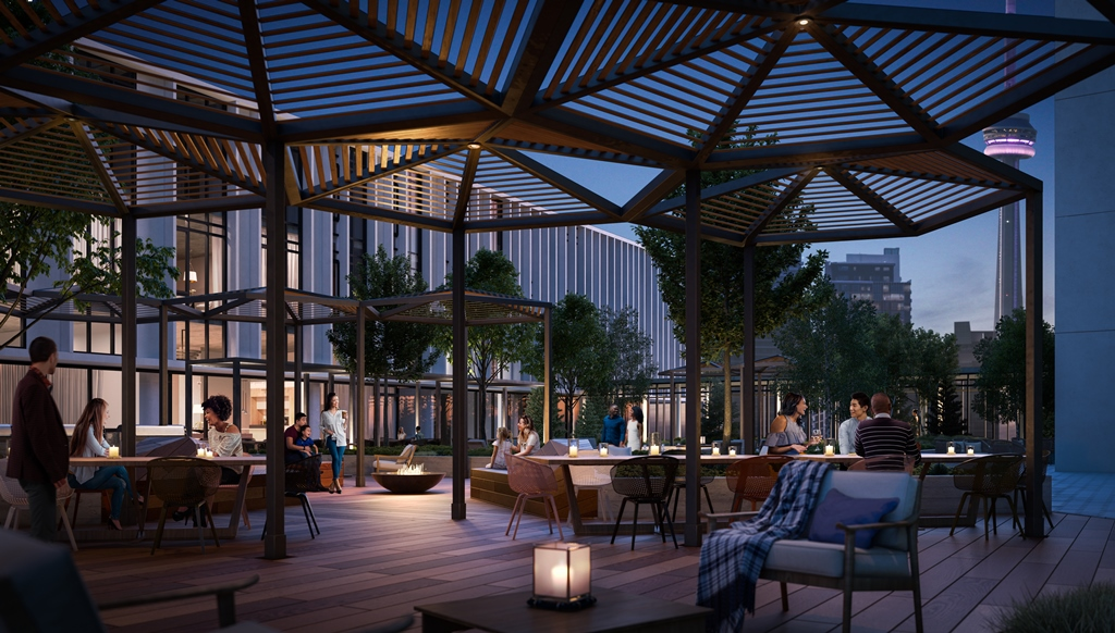 Rendering of Sugar Wharf Condos rooftop lounge at night.