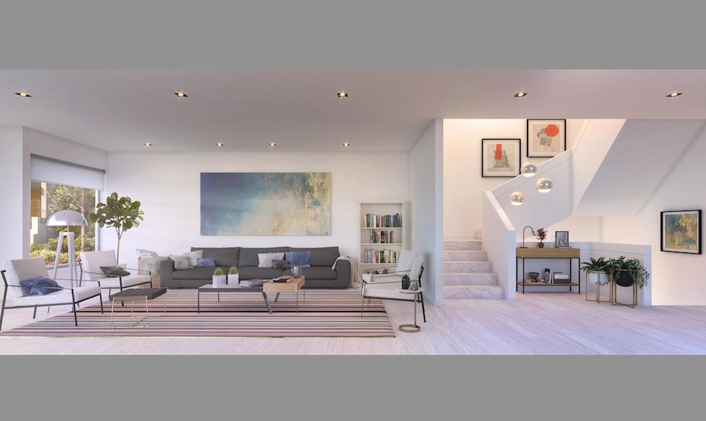 Rendering of The Vince townhouse living room and staircase.