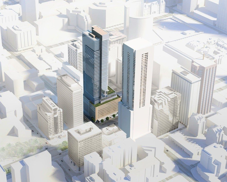 Rendering of 481 University building exterior and surround city area.
