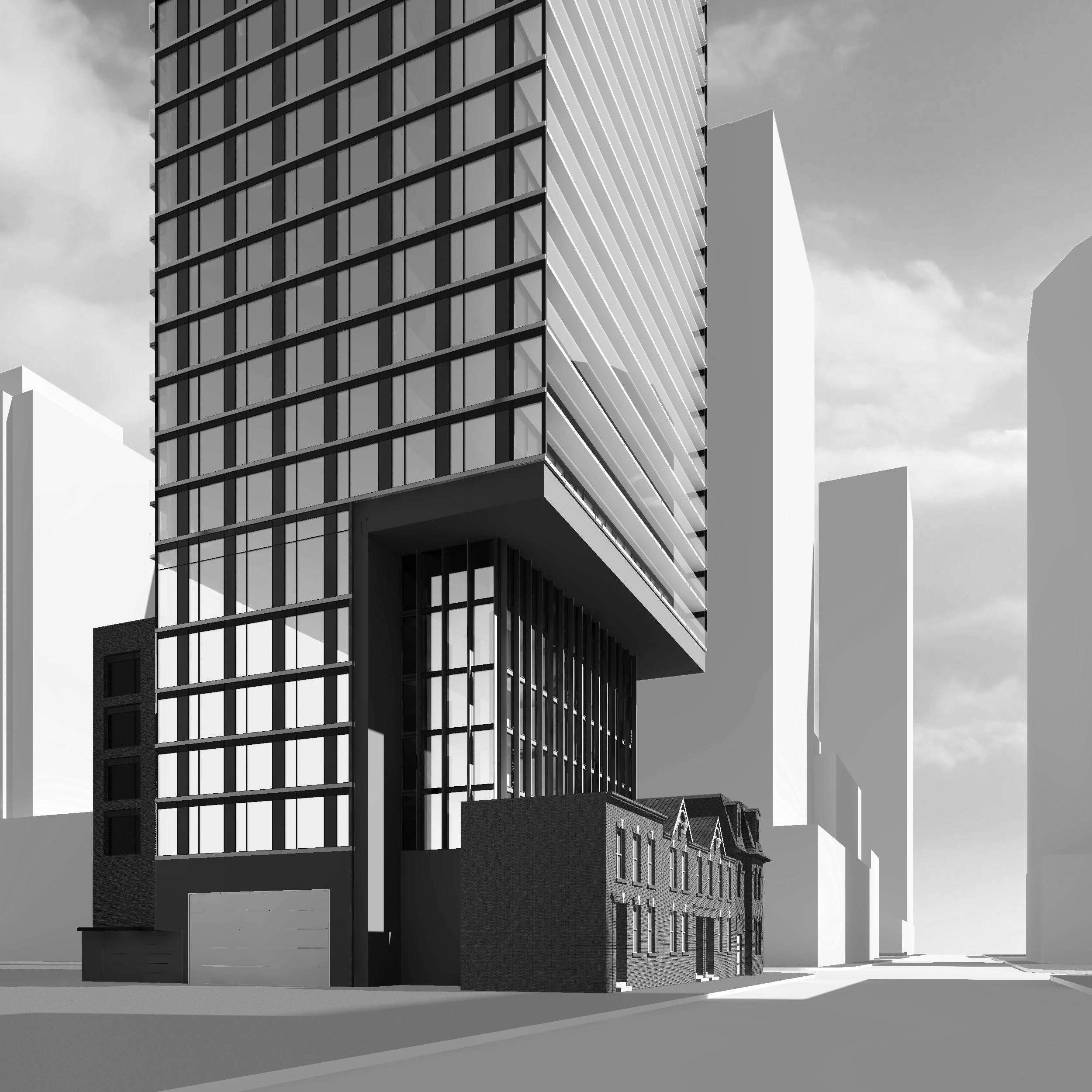 Rendering of Garden District Condos building exterior - view of front and right side.