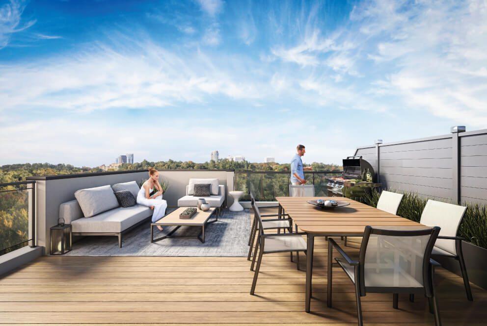 Rendering of The Way Towns outdoor rooftop patio.