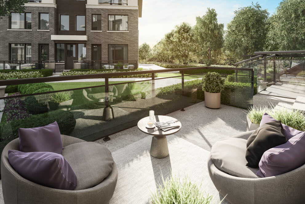 Rendering of The Way Towns unit exterior - front patio.