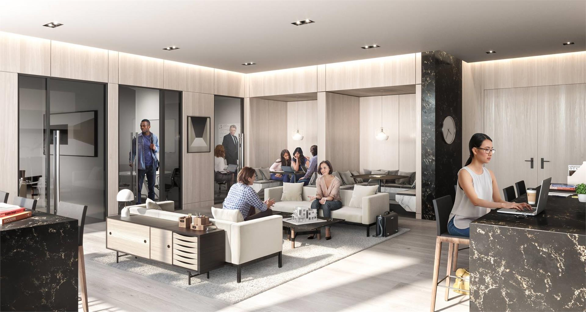 Interior rendering of Wesley Tower's business lounge.