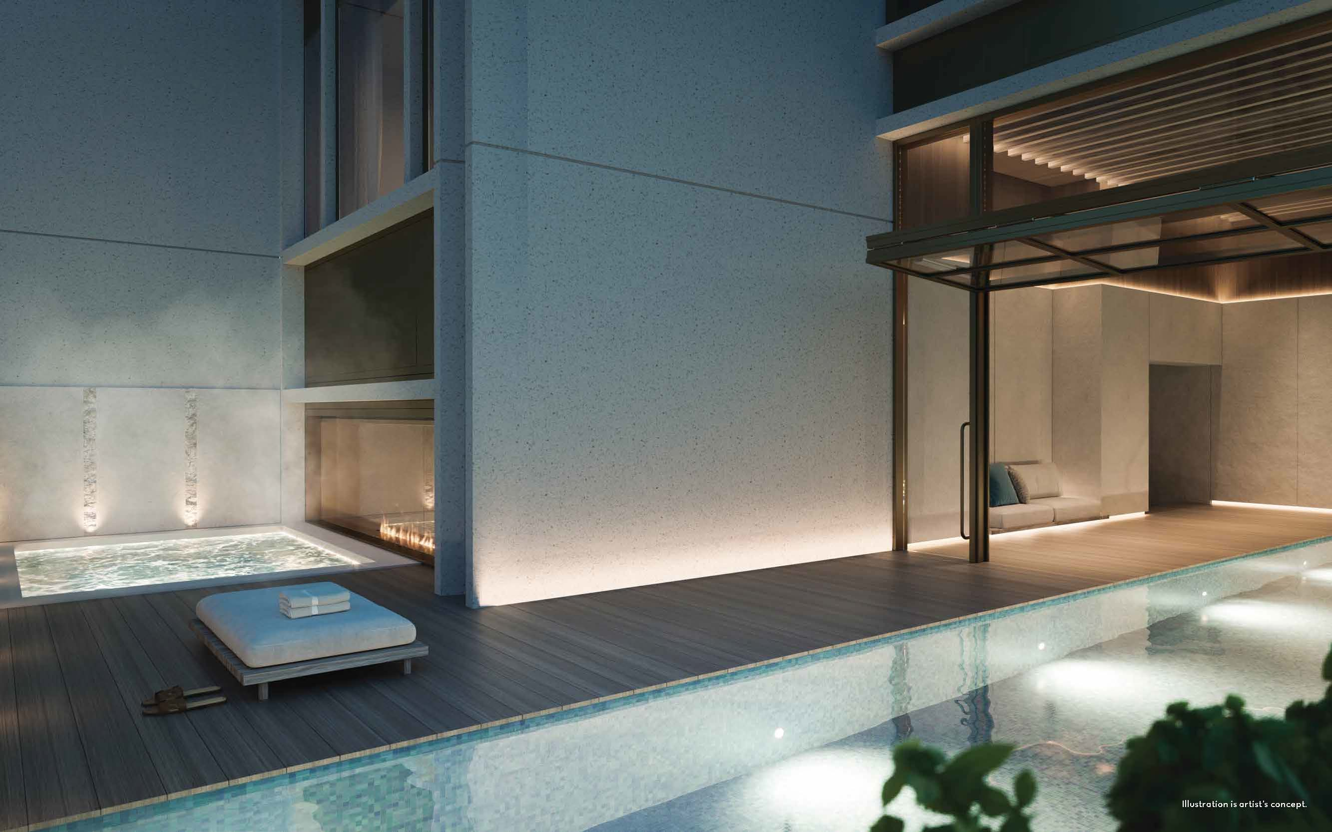 Rendering of 50 Scollard Yorkville Condos swimming pool with lounging areas