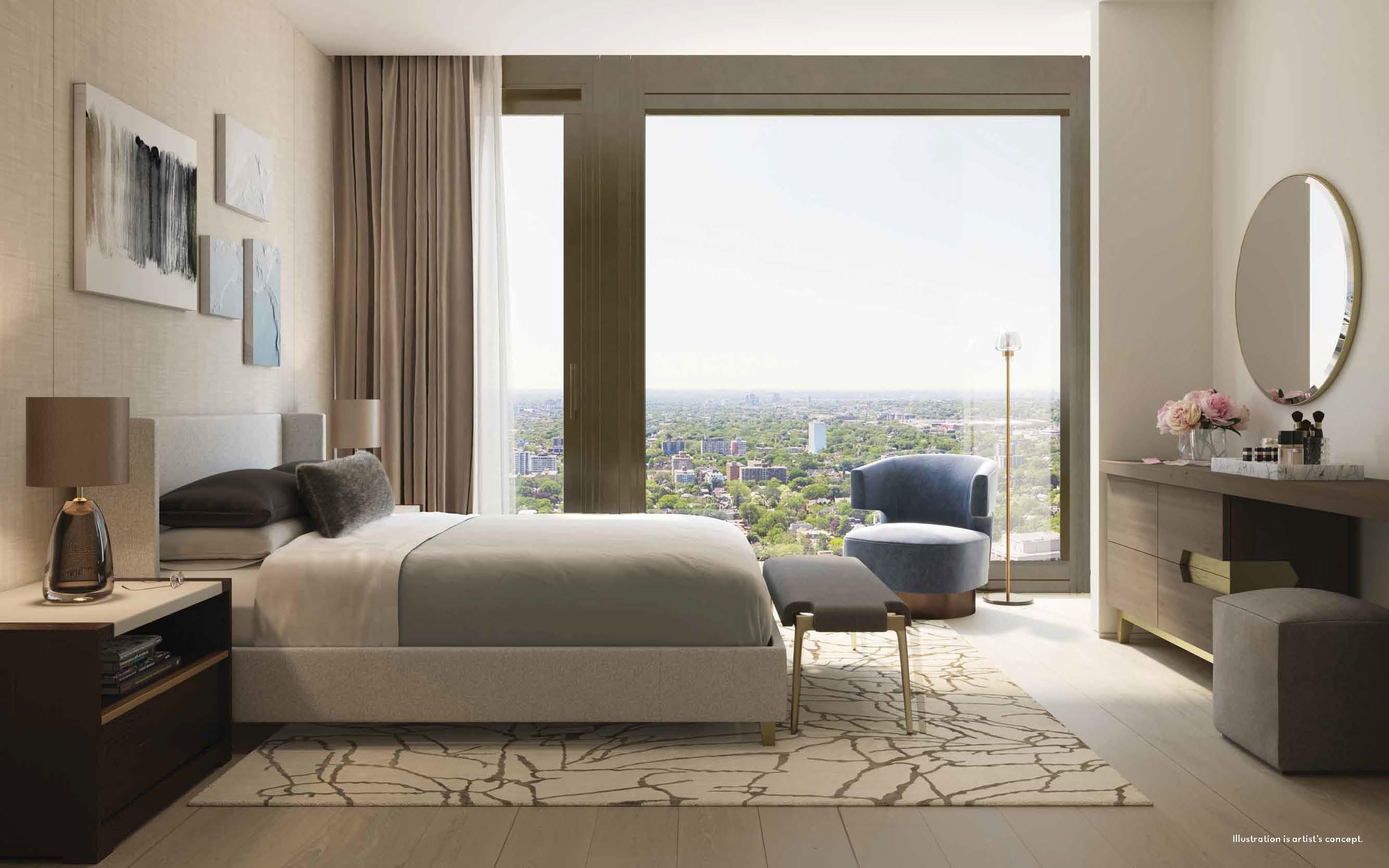 Rendering of 50 Scollard Yorkville Condos suite bedroom.