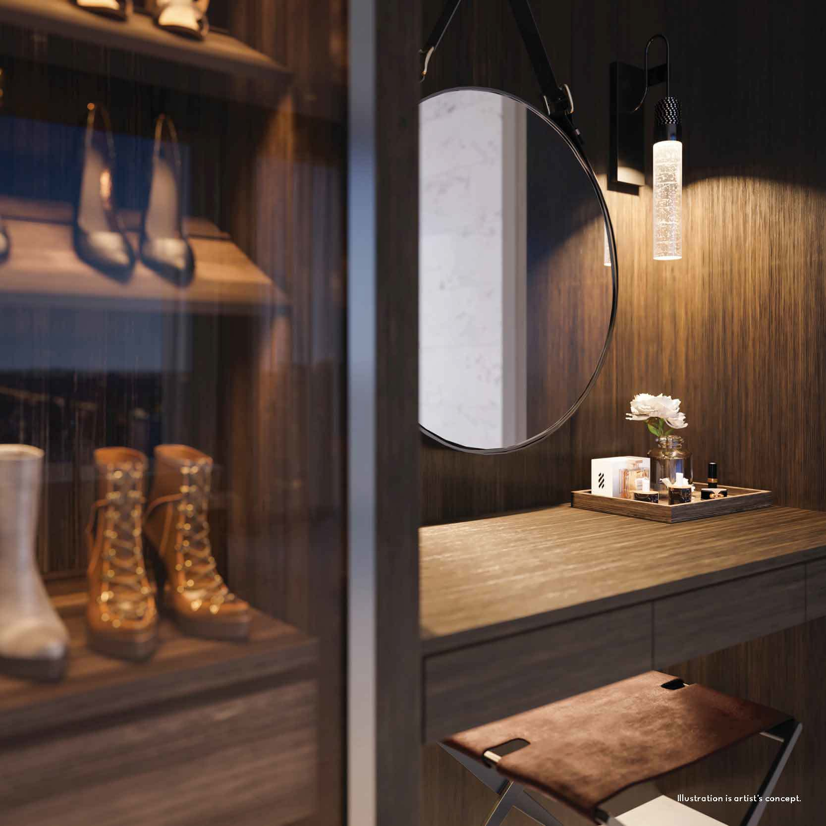 Rendering of 50 Scollard Yorkville Condos luxury closet with beauty stand.
